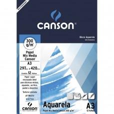 Bloco Canson A3 300G Aquarela C/12F
