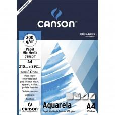 Bloco Canson A4 300G Aquarela C/12F