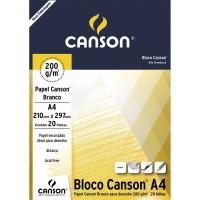 Bloco Canson A4 200G Desenho Branco C/20F