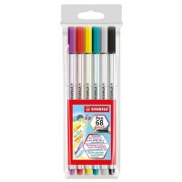 Caneta Stabilo Brush Pen 568 C/6 Cores