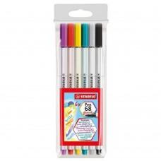Caneta Stabilo Brush Pen 568 C/6 Cores