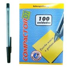 Caneta Esferográfica Compactor 07 Preta C/100