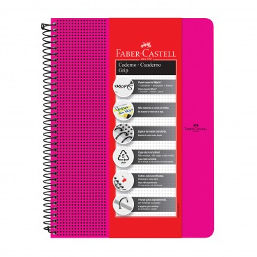 Caderno Faber Castell Grip Pautado Rosa 80 fls
