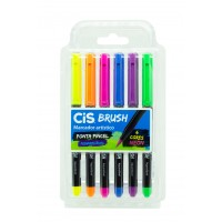 Caneta Cis Brush Pen Aquarelavel C/6 Tons Neon