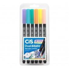 Caneta Cis Dual Brush Pen Pastel C/6