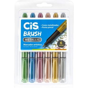 Caneta Cis Brush Metálica C/6 Cores