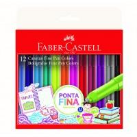 Caneta Faber Castell Fine Pen 0,4mm C/12 Cores
