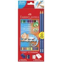 Lapis de Cor Faber Castell Bicolor 12 Lápis 24 Cores
