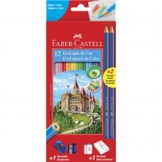 Lapis de Cor Faber Castell C/12+2 Ecolápis Grafite + 1 Apontador + 1 Borracha 120112+2N