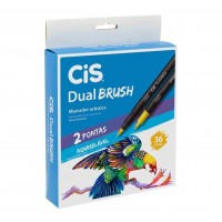 Caneta Cis Dual Brush Artística Aquarelável C/36