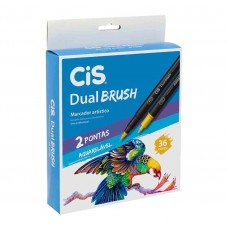 Caneta Cis Dual Brush Artística Aquarelável C/36