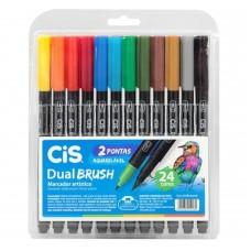 Caneta Cis Dual Brush Artística Aquarelável C/24