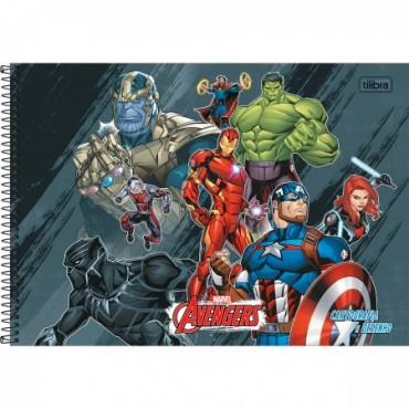 Caderno Desenho Espiral Capa Dura Avengers 80 Folhas B