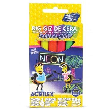 Gizão de Cera Acrilex Fantasia Glitter Neon C/6 Cores