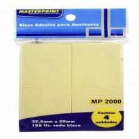 Bloco Adesivo 38x50 Amarelo C/4 Blocos MP2000