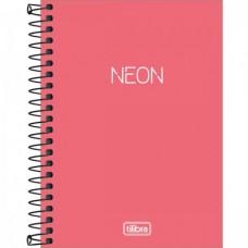 Caderneta Espiral Capa Plástica 1/8 Sem Pauta Neon Coral 80F