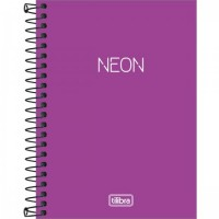 Caderneta Espiral Capa Plástica 1/8 Sem Pauta Neon Lilás 80F