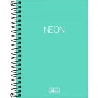 Caderneta Espiral Capa Plástica 1/8 Sem Pauta Neon Turquesa 80F