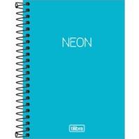 Caderneta Espiral Capa Plástica 1/8 Sem Pauta Neon Azul 80F