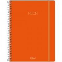 Caderno Universitário Capa Plástica 10 Matérias 160 Folhas Neon Laranja