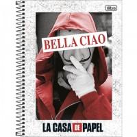 Caderno Universitário Capa Dura 10 Matérias 160 Folhas La Casa de Papel A