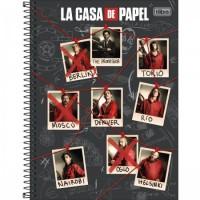 Caderno Universitário Capa Dura 16 Matérias 256 Folhas La Casa de Papel C