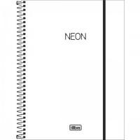 Caderno Universitário Capa Plástica 01 Matéria 80 Folhas Neon Branco