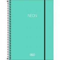 Caderno Universitário Capa Plástica 10 Matérias 160 Folhas Neon Turquesa