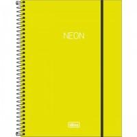 Caderno Universitário Capa Plástica 10 Matérias 160 Folhas Neon Verde Limão