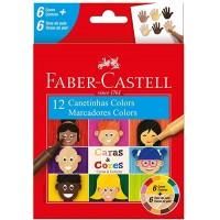 Hidrocor Faber Castell Caras & Cores 6+6 Tons de Pele 15.0112CCZF