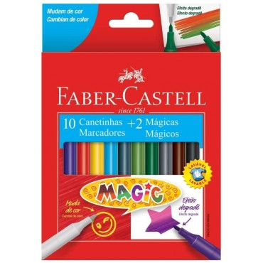 Hidrocor Faber Castell Magic C/10 Cores + 2