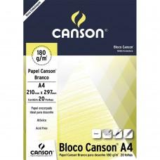 Bloco Canson A4 180G Desenho Branco C/20F