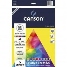 Bloco Criativo Cards A4 Canson 120g C/ 8 Cores C/24 Folhas