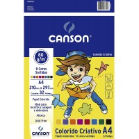 Bloco Criativo Canson 80g A4 C/ 8 Cores C/32 Folhas