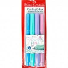 Caneta Faber Castell Fine Pen 0,4mm Pastel C/4 Cores