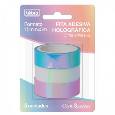 Fita Decorativa Washi Tape Holográfica Tilibra 15mm X 5m C/3 unidades
