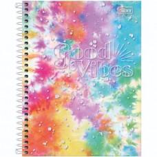 Caderno Colegial Capa Dura 01 Matéria 80 Folhas Good Vibes B