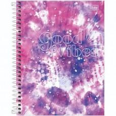 Caderno Colegial Capa Dura 01 Matéria 80 Folhas Good Vibes D
