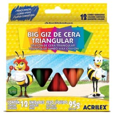 Gizão de Cera Acrilex Triangular C/12 Cores
