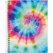 Caderno Colegial Capa Dura 10 Matérias 160 Folhas Good Vibes A