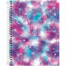 Caderno Colegial Capa Dura 10 Matérias 160 Folhas Good Vibes C