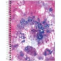 Caderno Colegial Capa Dura 10 Matérias 160 Folhas Good Vibes D