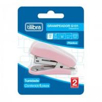 Grampeador Mini Tilibra com Extrator G101 P/12F Rosa Claro