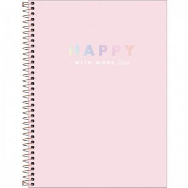 Caderno Universitário Capa Dura Universitário 12 Matérias Happy 192 F B
