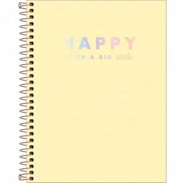 Caderno Colegial Capa Plástica 10 Matérias 160 Folhas Happy Amarelo