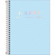 Caderno Colegial Capa Plástica 10 Matérias 160 Folhas Happy Azul