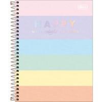 Caderno Colegial Capa Dura 10 Matérias 160 Folhas Happy Colors