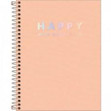 Caderno Colegial Capa Plástica 10 Matérias 160 Folhas Happy Coral