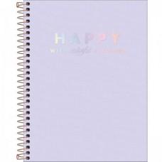 Caderno Colegial Capa Plástica 10 Matérias 160 Folhas Happy Lilás