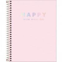 Caderno Colegial Capa Plástica 10 Matérias 160 Folhas Happy Rosa